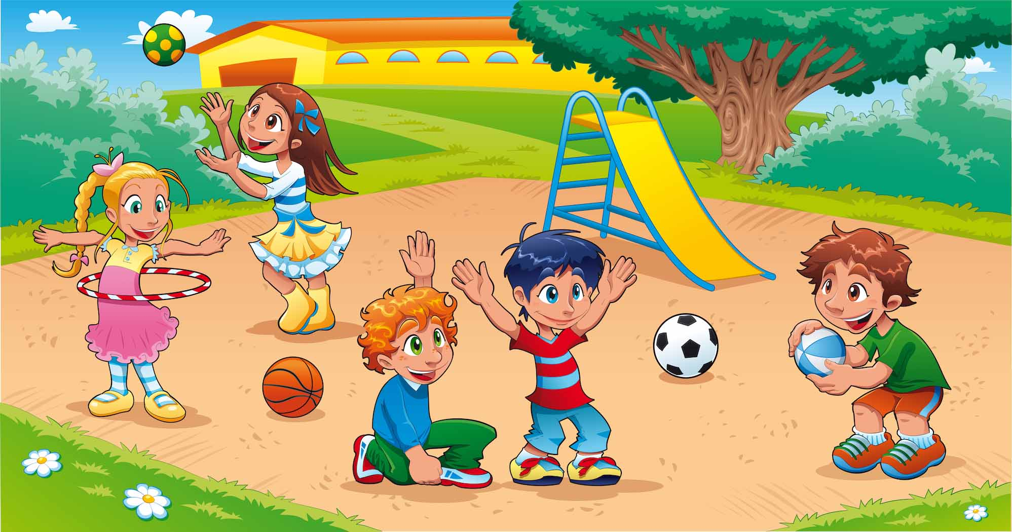 Children's book illustration of kids playing in playground
